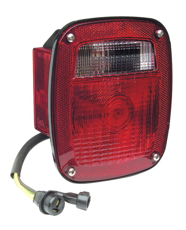 Grote Industries - 52812 – Three-Stud, Chevrolet® Ford® Jeep Stop Tail Turn Light w/ Side Marker & Molded Pigtail Termination, LH, Red