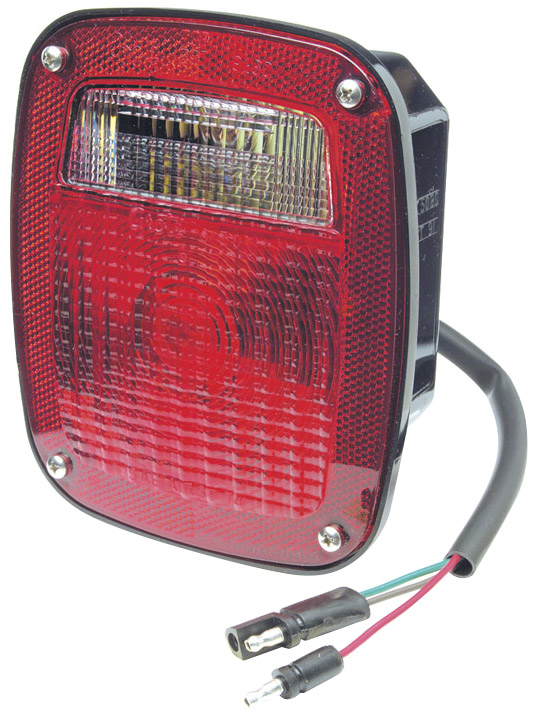 52972 – Two-Stud Ford® Stop Tail Turn Light w/ Pigtail & Molded Plug, Red