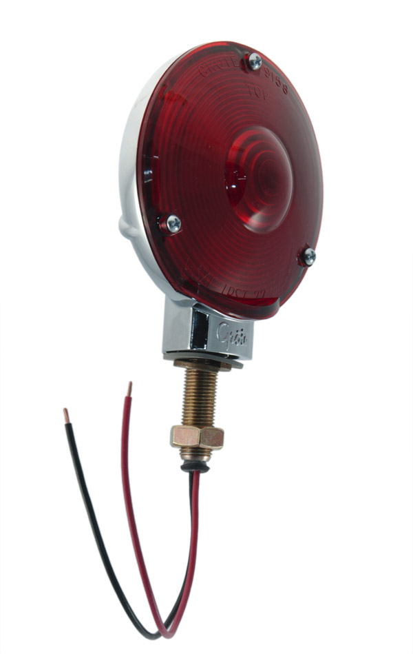 53032 – 4″ Die-Cast Single-Face Light, Double Contact, Chrome Plated, Red