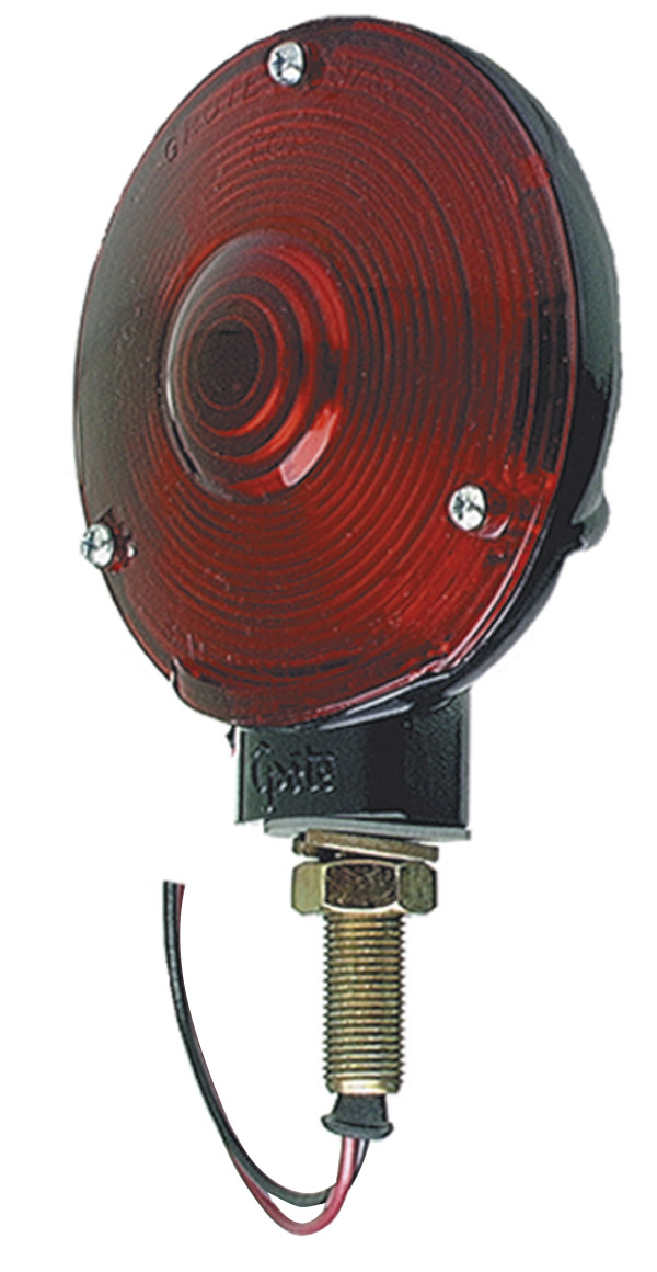 53052 – 4″ Die-Cast Single-Face Light, Double Contact, Black Finish, Red