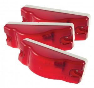 53062-3 – Sentry Sealed Marker Side Turn Light, White Base, Red, Bulk Pack
