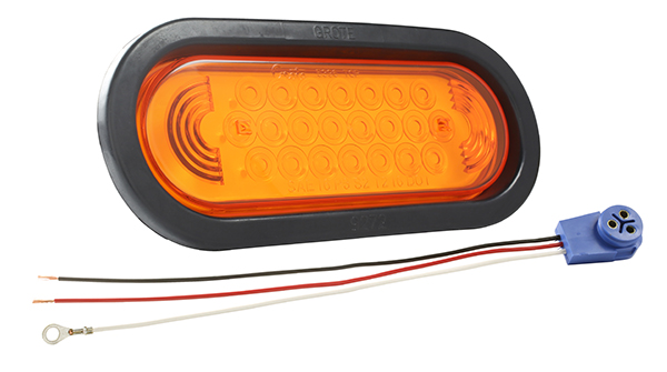 Grote Industries - 53123 – SuperNova® Oval LED Stop Tail Turn Light, Male Pin, Yellow Kit (53963 + 92420 + 67005)