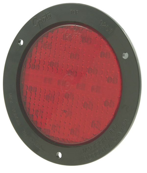 Grote Industries - 53182 – SuperNova® 4″ Full-Pattern LED Stop Tail Turn Light, Black Theft-Resistant Flange, Male Pin, Red