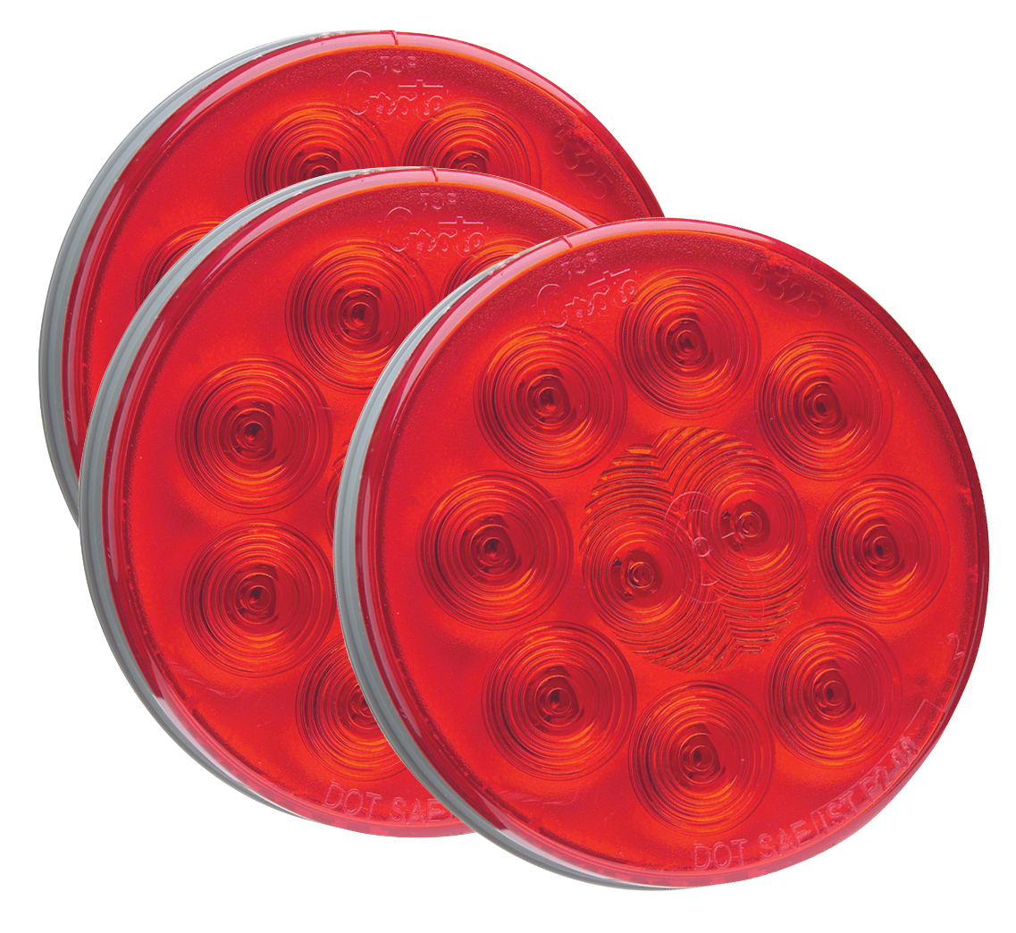 Grote Industries - 53252-3 – SuperNova® 4″ 10-Diode Pattern LED Stop/Tail/Turn Lamp, Grommet Mount, Red, Bulk Pack