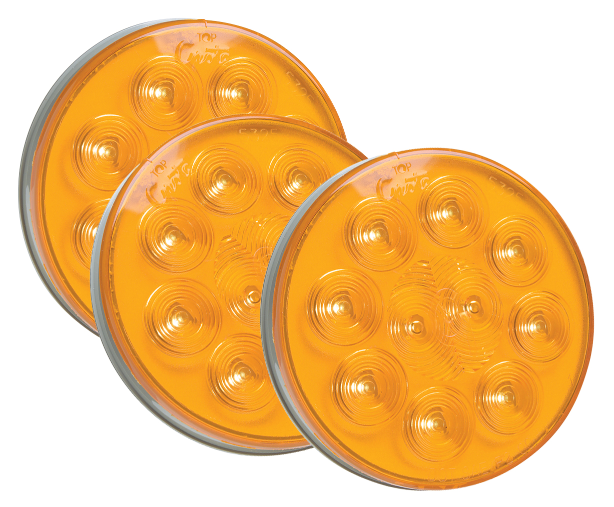 Grote Industries - 53253-3 – SuperNova® 4″ 10-Diode Pattern LED Stop Tail Turn Light, Grommet Mount, Auxiliary Turn, Yellow, Bulk Pack