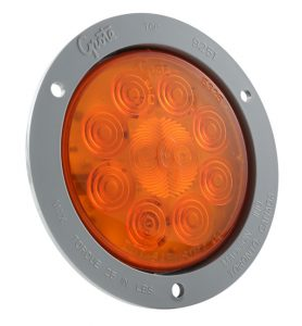 53273 – SuperNova® 4″ 10-Diode Pattern LED Stop Tail Turn Light, Gray Theft-Resistant Flange, Auxiliary Turn, Yellow