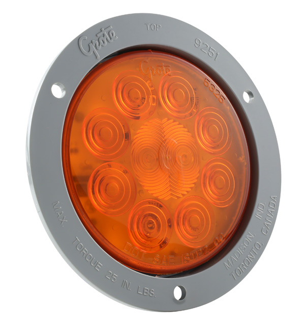 Grote Industries - 53273 – SuperNova® 4″ 10-Diode Pattern LED Stop Tail Turn Light, Gray Theft-Resistant Flange, Auxiliary Turn, Yellow