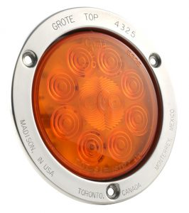 53303 – SuperNova® 4″ 10-Diode Pattern LED Stop Tail Turn Light, Stainless Steel, Theft-Resistant Flange, Auxiliary Turn, Yellow