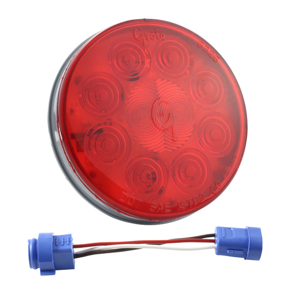 Grote Industries - 53342 – SuperNova® 4″ 10-Diode Pattern LED Stop Tail Turn Light, Male Pin, Red Kit (53252 + 66830)