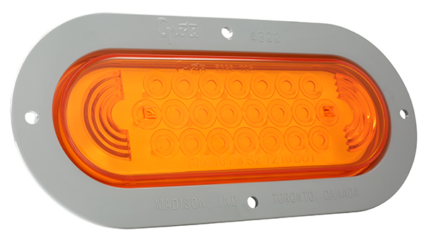 53593 – SuperNova® Oval LED Stop Tail Turn Light, Gray Theft-Resistant Flange, Male Pin, Yellow