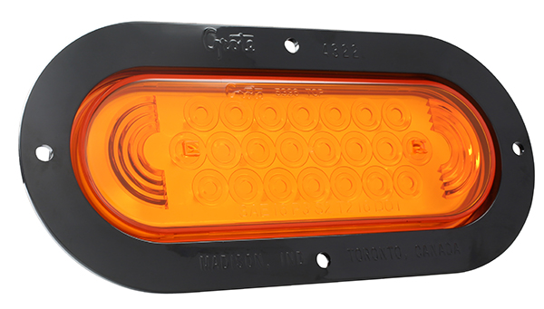 Grote Industries - 53623 – SuperNova® Oval LED Stop Tail Turn Light, Black Theft-Resistant Flange, Male Pin, Yellow