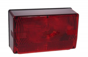 53822 – Submersible Compact Trailer Lighting Kit, Replacement LH Stop Tail Turn, w/ License Window, Red