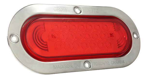 Grote Industries - 53972 – SuperNova® Oval LED Stop Tail Turn Light, Stainless Steel Theft-Resistant Flange, Red