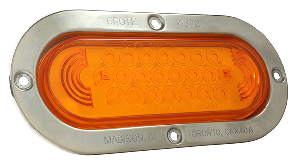 Grote Industries - 53973 – SuperNova® Oval LED Stop Tail Turn Light, Stainless Steel Theft-Resistant Flange, Male Pin, Yellow