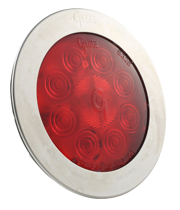Grote Industries - 54042 – SuperNova® 4″ 10-Diode Pattern LED Stop Tail Turn Light, Stainless-Steel Snap-In Flange, Red