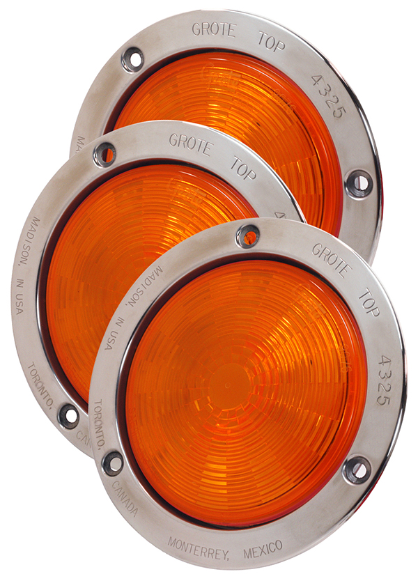 54493-3 – SuperNova® 4″ NexGen™ LED Stop Tail Turn Light, Stainless Steel Flange, Auxiliary, Male Pin, Yellow, Bulk Pack