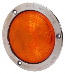 54493 – SuperNova® 4″ NexGen™ LED Stop Tail Turn Light, Stainless Steel Flange, Auxiliary, Male Pin, Yellow