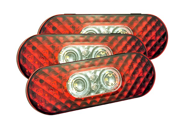 54682-3 – 6″ Oval LED Stop/Tail/Turn with Integrated Back-Up Lights, Female Pin Termination, Bulk Pack