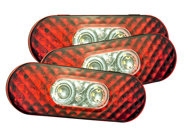 Grote Industries - 54702-3 – 6″ Oval LED Stop/Tail/Turn with Integrated Back-Up Lights, Integrated Hard Shell, Bulk Pack