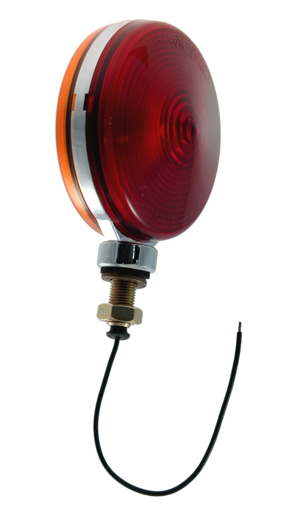 55290 – Thin-Line Zinc Die-Cast Double-Face Lamp, Triple Chrome-Plated, Red/Yellow