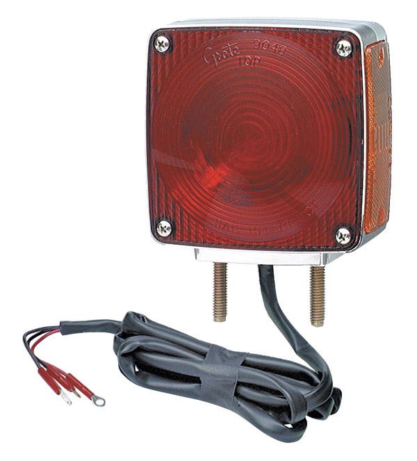 55340 – Two-Stud Chrome Light w/ Pigtail, Red/Yellow