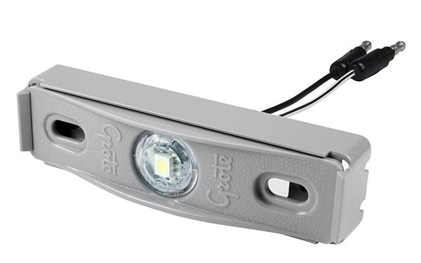 Grote Industries - 60711 – MicroNova® Dot LED License Light, w/ Adapter Bracket, Multi-Volt, Gray Kit (60661 + 43780)