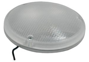 Lámpara semiempotrada redonda, de acero, con interruptor