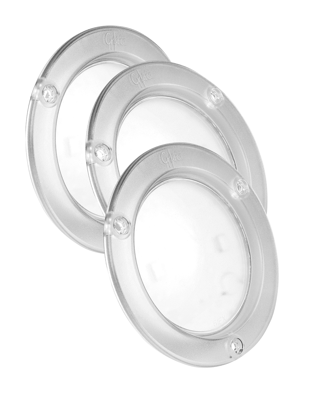 61E01-3 – LED WhiteLight™ 4″ Dome Light, Integrated Flange, Male Pin, 12V, Clear, Bulk Pack