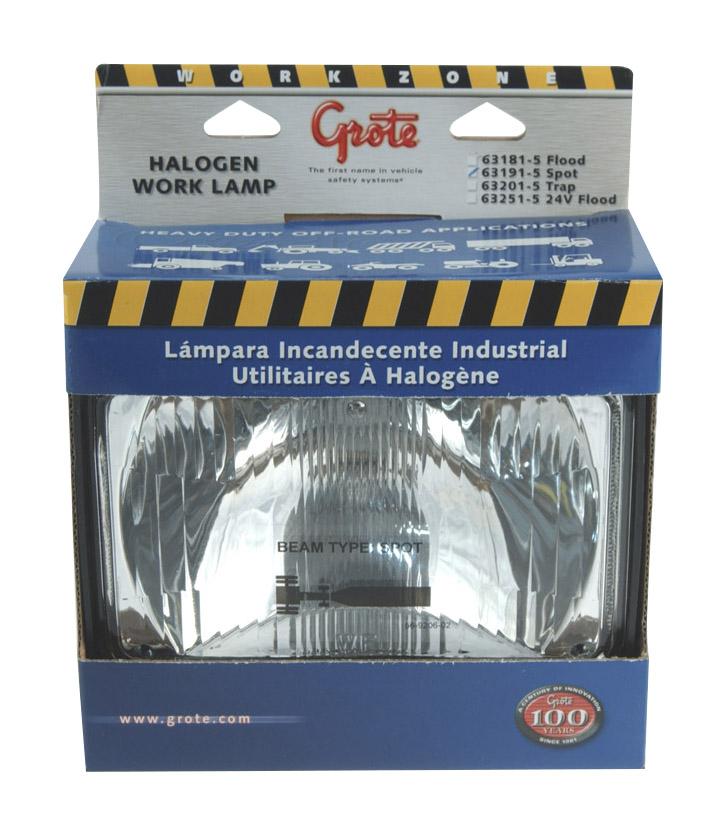 63191-5 – Large Rectangular Halogen Work Lamp, Spot, Retail Pack