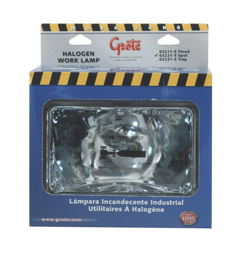 63221-5 – 4″ x 6″ Rectangular Rubber Work Lights, Halogen, Spot, Retail Pack