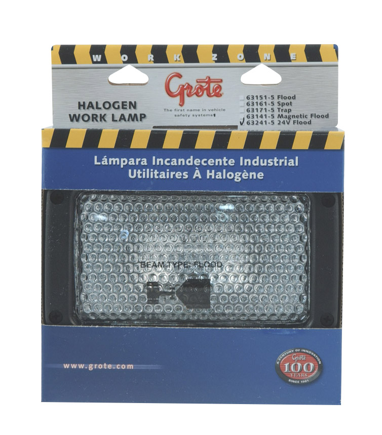 Grote Industries - 63241-5 – Rectangular Halogen Work Light, Flood, 24V, Retail Pack