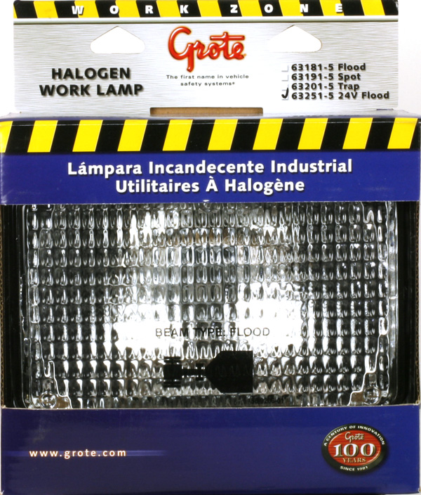 63251-5 – Large Rectangular Halogen Work Light, Flood, 24V, Retail Pack