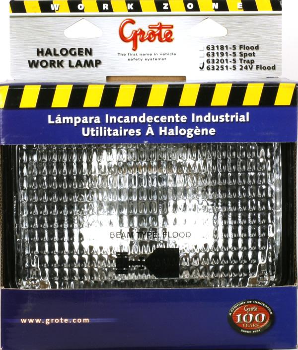 63251-5 – Large Rectangular Halogen Work Light, Flood, 24V, Retail Pack