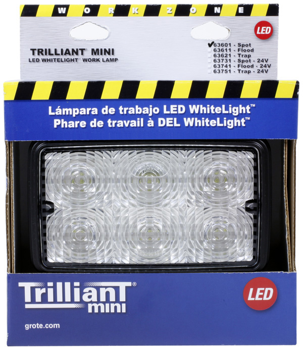 Grote Industries - 63601-5 – Trilliant® Mini LED WhiteLight™ Work Light, Spot, 700 Lumens, Clear, Retail Pack