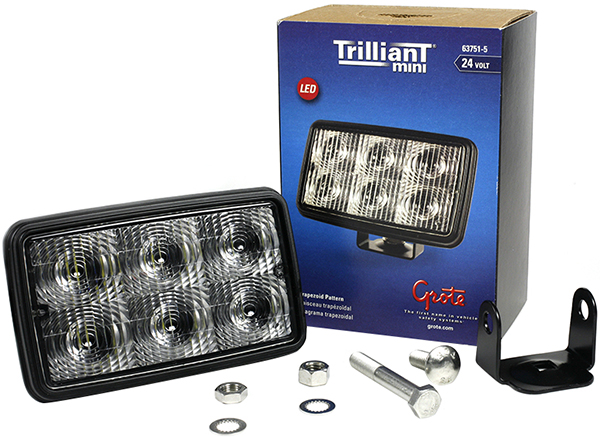 Grote Industries - 63751-5 – Trilliant® Mini LED Work Light, Trapezoid, 24V, 700 Lumens, Clear, Retail Pack