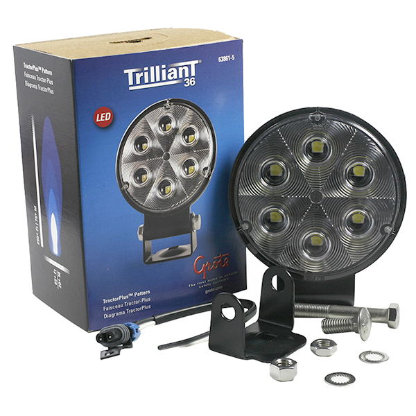 Grote Industries - 63861-5 – Trilliant® 36 LED Work Light, w/ Integrated Bracket & Pigtail, TractorPlus™ Pattern, Retail Pack