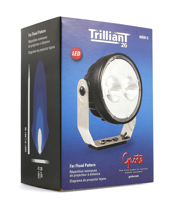 Grote Industries - 64e01-5 – Trilliant® 26 LED Work Light, w/ Pigtail, 1800 Lumens, Pinch Mount, Far Flood, Retail Pack