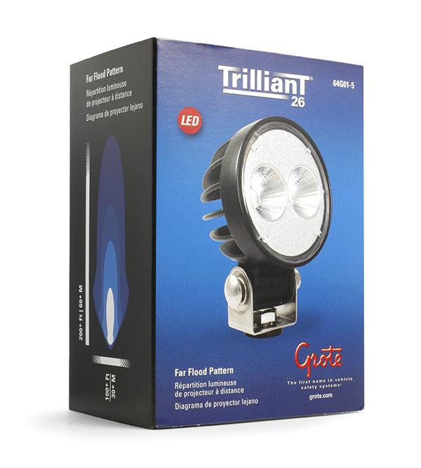 Grote Industries - 64G01-5 – Trilliant® 26 LED Work Light, w/ Pigtail, Pendant Mount, 1800 Lumens, Pendant Mount, Far Flood, Retail Pack