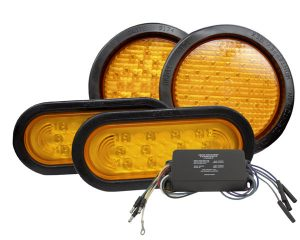 "65132 – Alternating ""X"" Pattern LED Strobe Light Kit, 4-Light System, Yellow"
