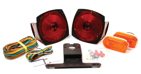 Grote Industries - 65350-5 – Trailer Lighting Kit with Side Marker Light and Clearance Marker Light, Red/Yellow, Retail Pack