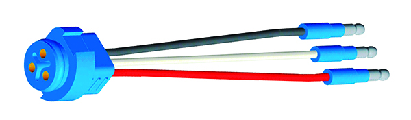 66815 – Stop Tail Turn Three-Wire Plug-In Pigtail For Male Pin Lights, 6″ Long, Ground Return, Slim-Line .180 Male
