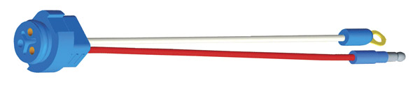 66842 – Stop Tail Turn Two-Wire Plug-In Pigtail For Male Pin Lights, 10″ Long, Chassis Ground, Slim-Line .180 Male