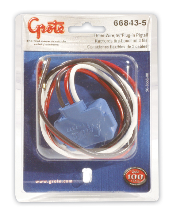 66843-5 – Stop Tail Turn Three-Wire 90º Plug-In Pigtail For Female Pin Light, 18″ Long, Chassis Ground, Blunt Cut Wires, Star Ring Terminal, Retail Pack