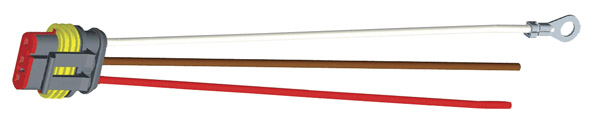 66861 – Hard-Shell Connector Pigtail, 11″ Long, Chassis Ground, Blunt Cut Wires, Dual Function
