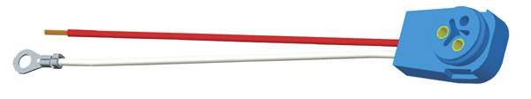 67016 – Stop Tail Turn Two-Wire 90° Plug-In Pigtail For Male Pin Lights, 11″ Long, Chassis Ground, Blunt Cut Wires