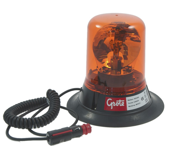 Grote Industries - 76053 – Belt Drive Rotating Beacon, Magnetic Mount w/ 15′ Switched Lighter Plug Cord, Yellow