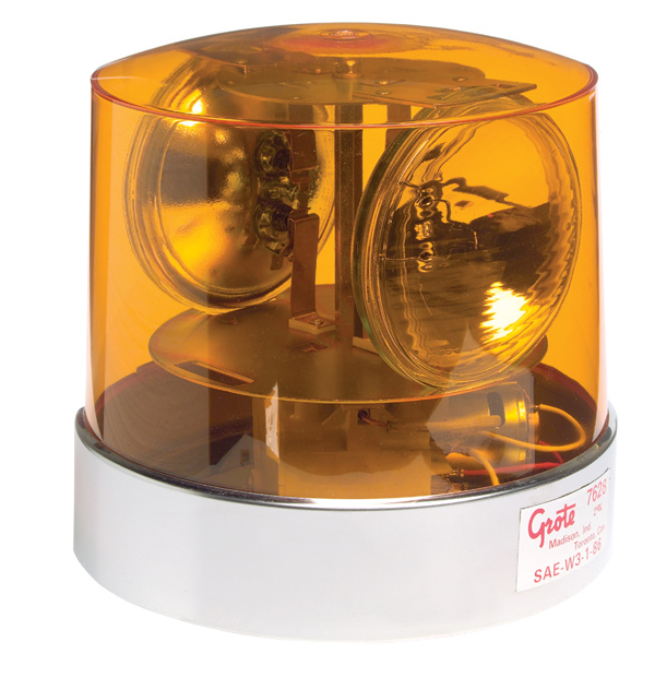 Grote Industries - 76283 – Two Sealed-Beam Roto-Beacon, Yellow, 24V