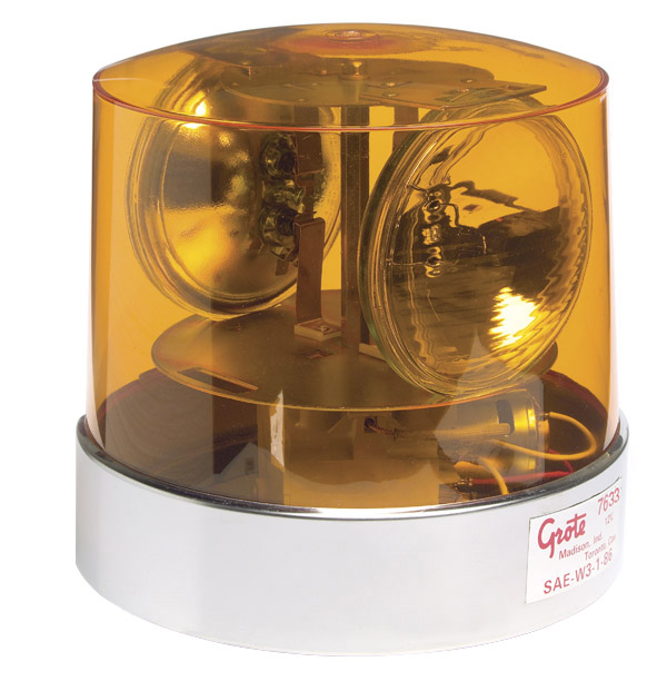 Grote Industries - 76333 – Two Sealed-Beam Roto-Beacon, Yellow w/ Polycarbonate Lens