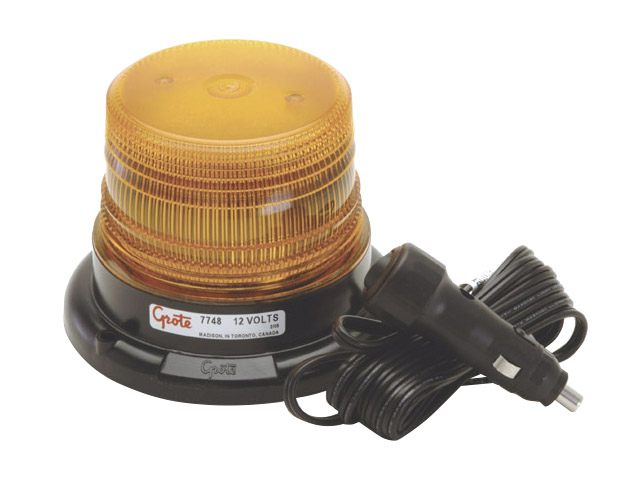 Grote Industries - 77483 – Mighty Mini LED Strobe, Magnet Mount with Auxiliary Power Adapter, Yellow