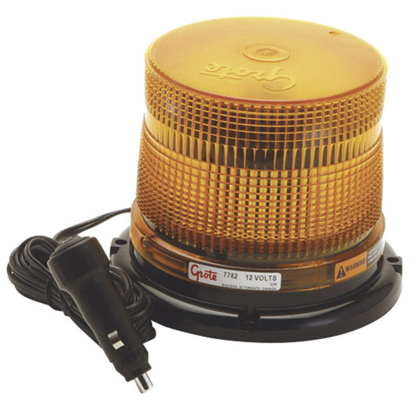 77823 – Medium Profile Class II LED Strobe, Magnet Mount w/ Auxiliary Power Cord, Yellow